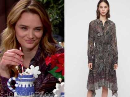 summer newman, hunter king, paisley dress, the young and the restless