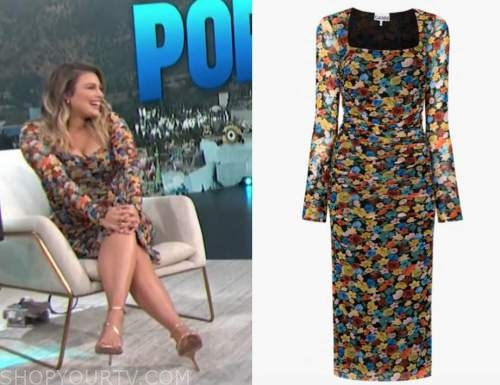 carissa culiner, E! news, daily pop, floral ruched mesh dress