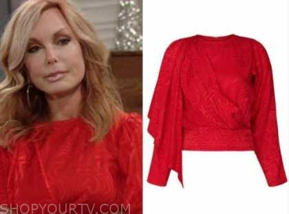 lauren fenmore baldwin, the young and the restless, tracey bregman, red jacquard satin drape top