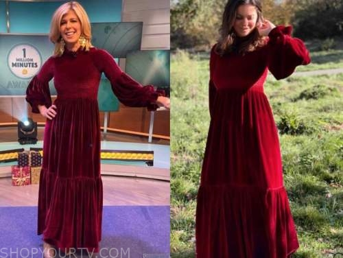 kate garraway, red velvet maxi dress