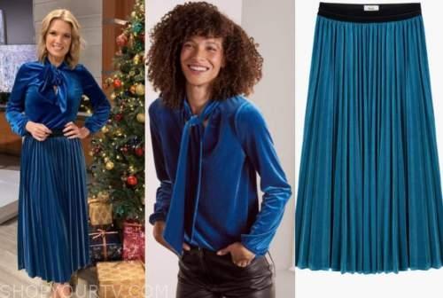 charlotte hawkins, good morning britain, blue velvet blouse and pleated skirt