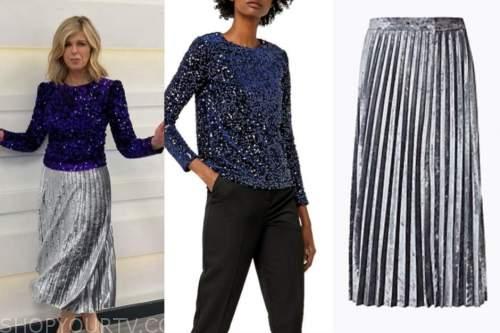 kate garraway, good morning britain, sequin top, velvet pleated skirt