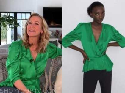 lara spencer, good morning america, green satin blouse