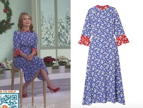 savannah guthrie, the today show, blue and red printed midi dress