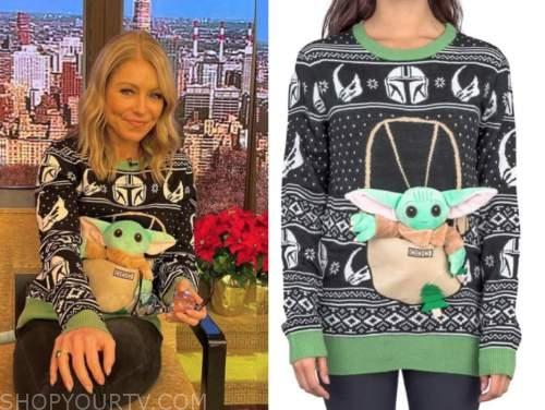 kelly ripa, live with kelly and ryan, baby yoda christmas sweater