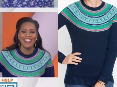 sheinelle jones, the today show, blue and green fair isle sweater
