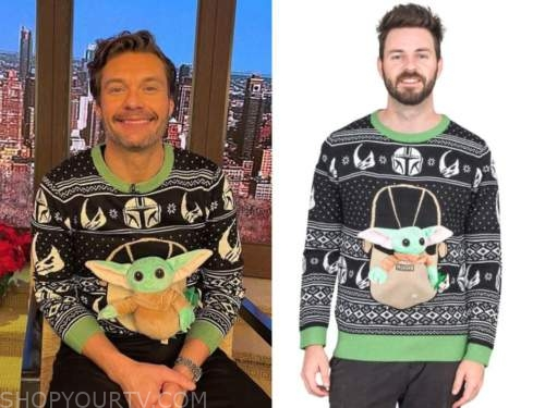 ryan seacrest, baby yoda sweater, live with kelly and ryan