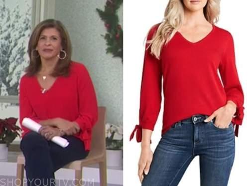 the today show, hoda kotb, red tie sleeve sweater