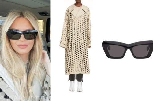 morgan stewart, instagram, fashion, beige cutout trench coat, black sunglasses