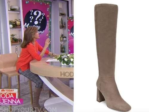 hoda kotb, beige suede boots, the today show, hoda and jenna