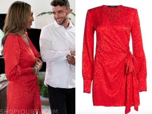 tayshia adams, the bachelorette, red satin jacquard dress