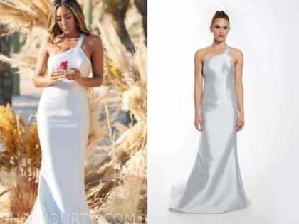 tayshia adams, the bachelorette, one-shoulder gown, finale dress