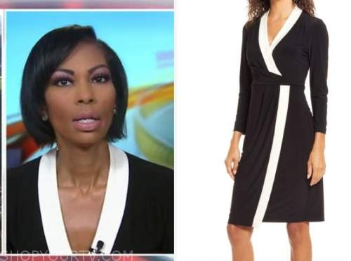 harris faulkner, black and white contrast trim dress, outnumbered