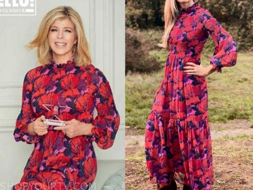 kate garraway, red floral smocked maxi dress