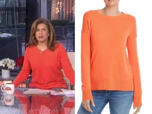 hoda kotb, the today show, orange cashmere sweater