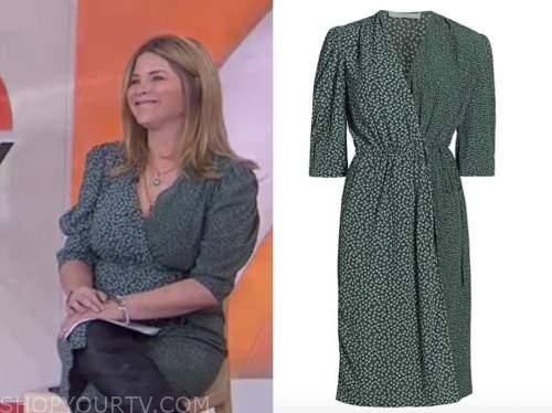 jenna bush hager, green mixed print dress, the today show