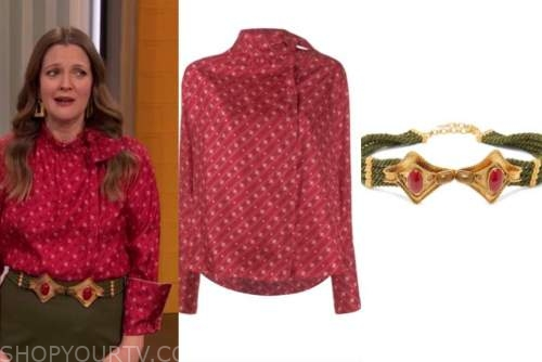drew barrymore, drew barrymore show, red printed blouse, green and red belt