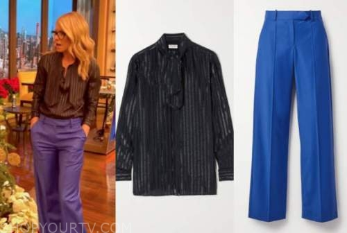 live with kelly and ryan, kelly ripa, metallic stripe tie neck blouse, blue pants