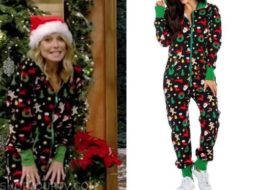 kelly ripa, live with kelly and ryan, black christmas onesie pajamas