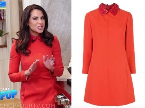 Karina Heinrich, E! news, daily pop, red collar dress