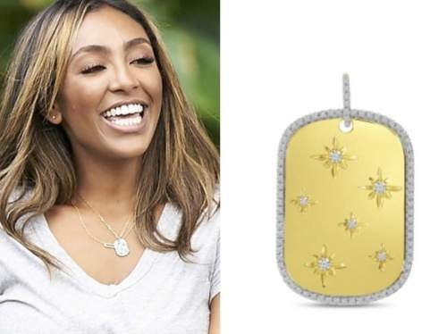 tayshia adams, the bachelorette, gold dog tag pendant