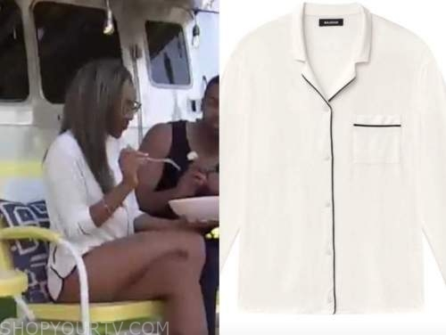 the bachelorette, tayshia adams, pajama contrast trim shirt
