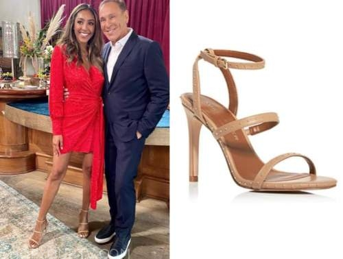 tayshia adams, the bachelorette, beige sandals