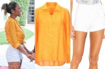 tayshia adams, the bachelorette, orange yellow linen shirt, white shorts