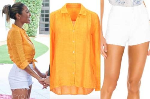 tayshia adams, the bachelorette, orange yellow linen shirt, white shorts