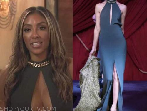 tayshia adams, the bachelorette, black chain keyhole gown dress