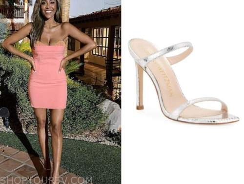 tayshia adams, the bachelorette, silver metallic sandals