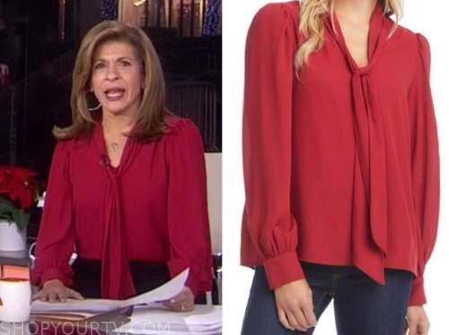 hoda kotb, the today show, red tie neck blouse