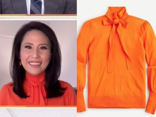 vicky nguyen, the today show, orange tie neck turtleneck sweater