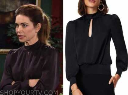 victoria newman, amelia heinle, the young and the restless, black keyhole blouse