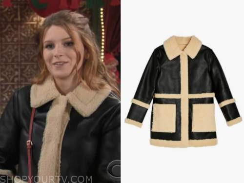 the young and the restless, jordan, madison thompson, black leather shearling jacket