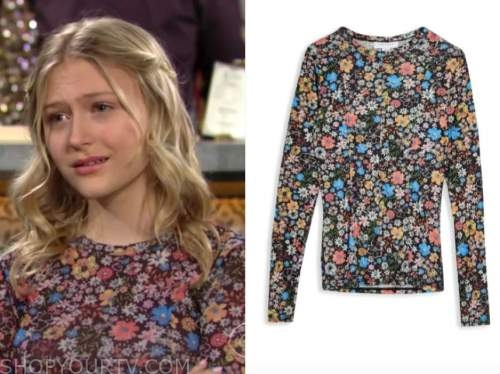 faith newman, alyvia alyn lind, the young and the restless, floral long sleeve top