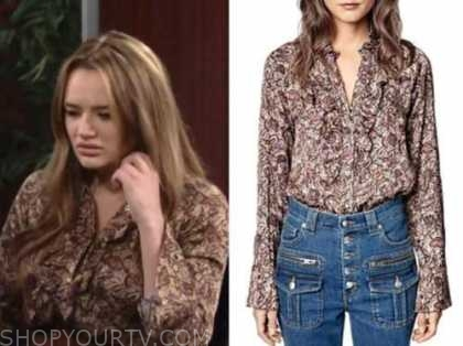summer newman, hunter king, the young and the restless, floral shirt