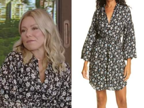 kelly ripa, black floral v-neck dress, live with kelly and ryan