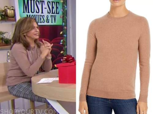 hoda kotb, brown beige cashmere sweater, the today show