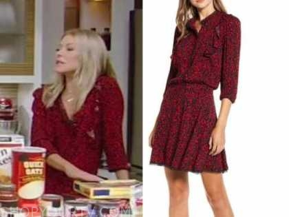 kelly ripa, red leopard dress, live with kelly and ryan