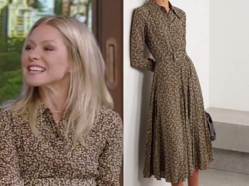 kelly ripa, live with kelly and ryan, brown paisley shirt dress