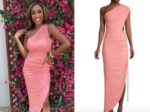 tayshia adams, the bachelorette, pink ruched one-shoulder midi dress