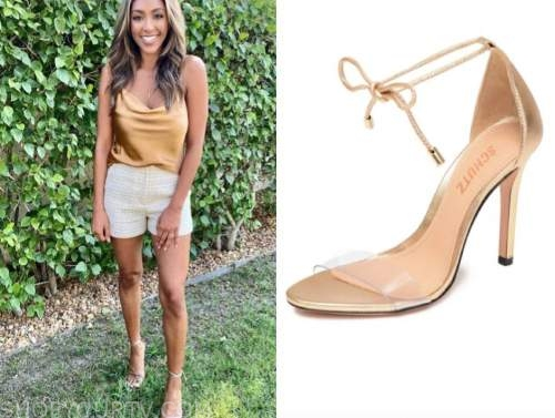 tayshia adams, the bachelorette, beige tie sandals