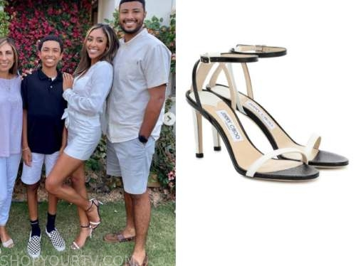 tayshia adams, the bachelorette, black and white sandals