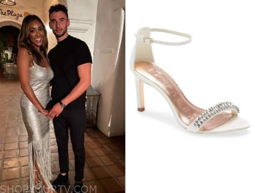 tayshia adams, the bachelorette, silver embellished sandals