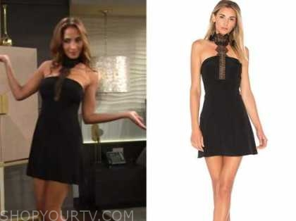 lily winters, christel khalil, the young and the restless, black halter mini dress
