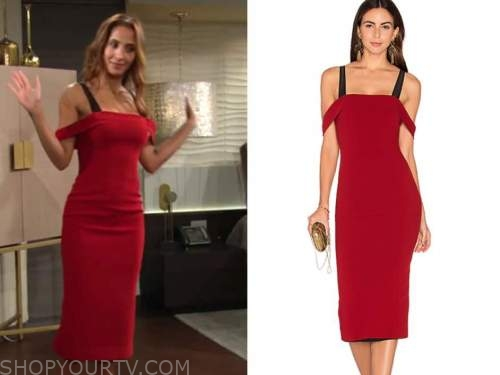 lily winters, christel khalil, the young and the restless, red cold-shoulder midi dress
