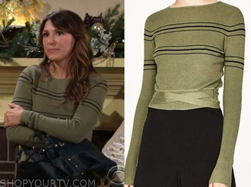 elizabeth hendrickson, chloe mitchell, green striped sweater, the young and the restless