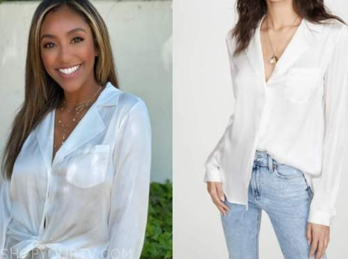tayshia adams, the bachelorette, white silk shirt