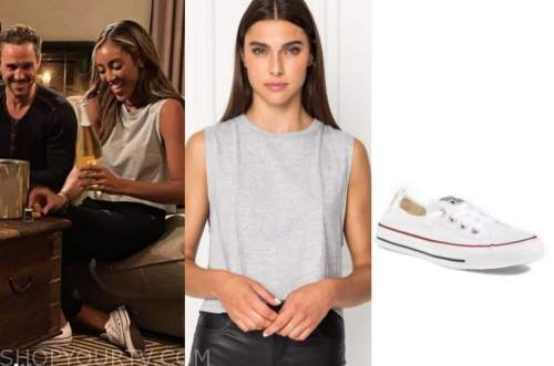 tayshia adams, the bachelorette, gray tank top, white sneakers